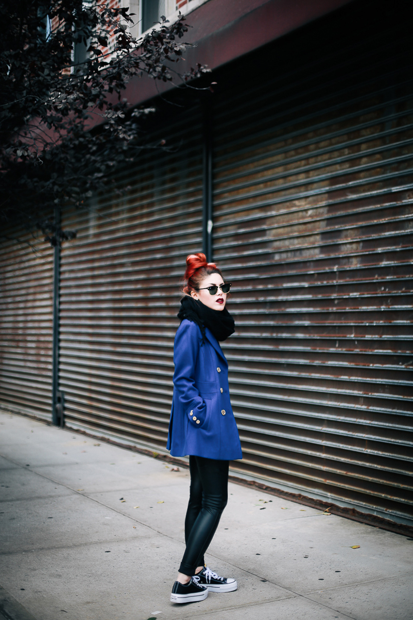Le Happy wearing Michael Kors military coat