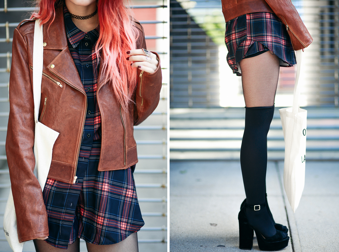 Le Happy wearing plaid and again biker jacket