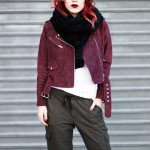 Le Happy wearing burgundy jacket and Aritzia military pants