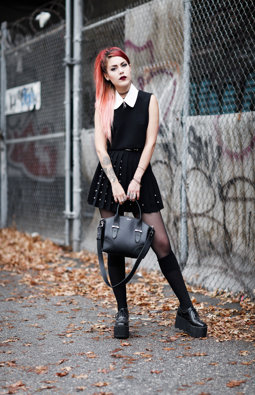 Le Happy wearing studded McQ dress