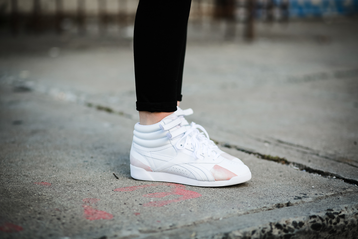 Le Happy in Reebok x Face Stockholm Freestyle sneakers