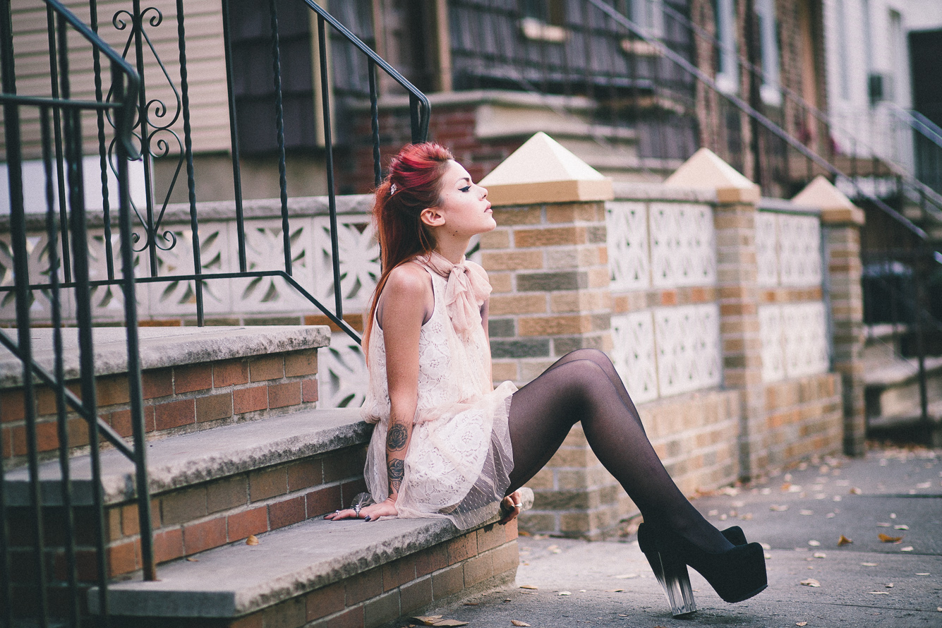 Le Happy wearing lace party look with Modcloth