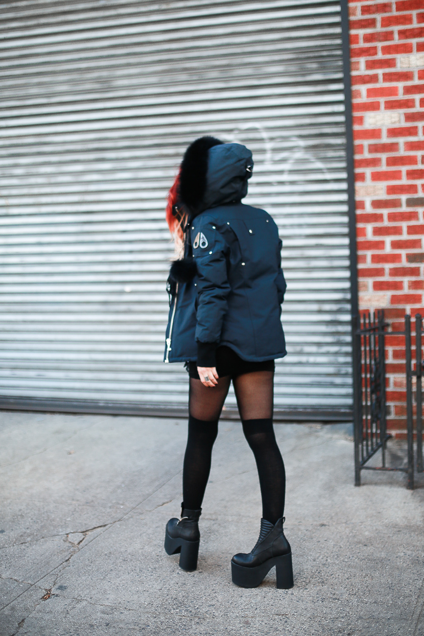 Le Happy wearing down jacket from MooseKnuckles