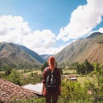Le Happy wearing ASH leather backpack in Cusco in Peru