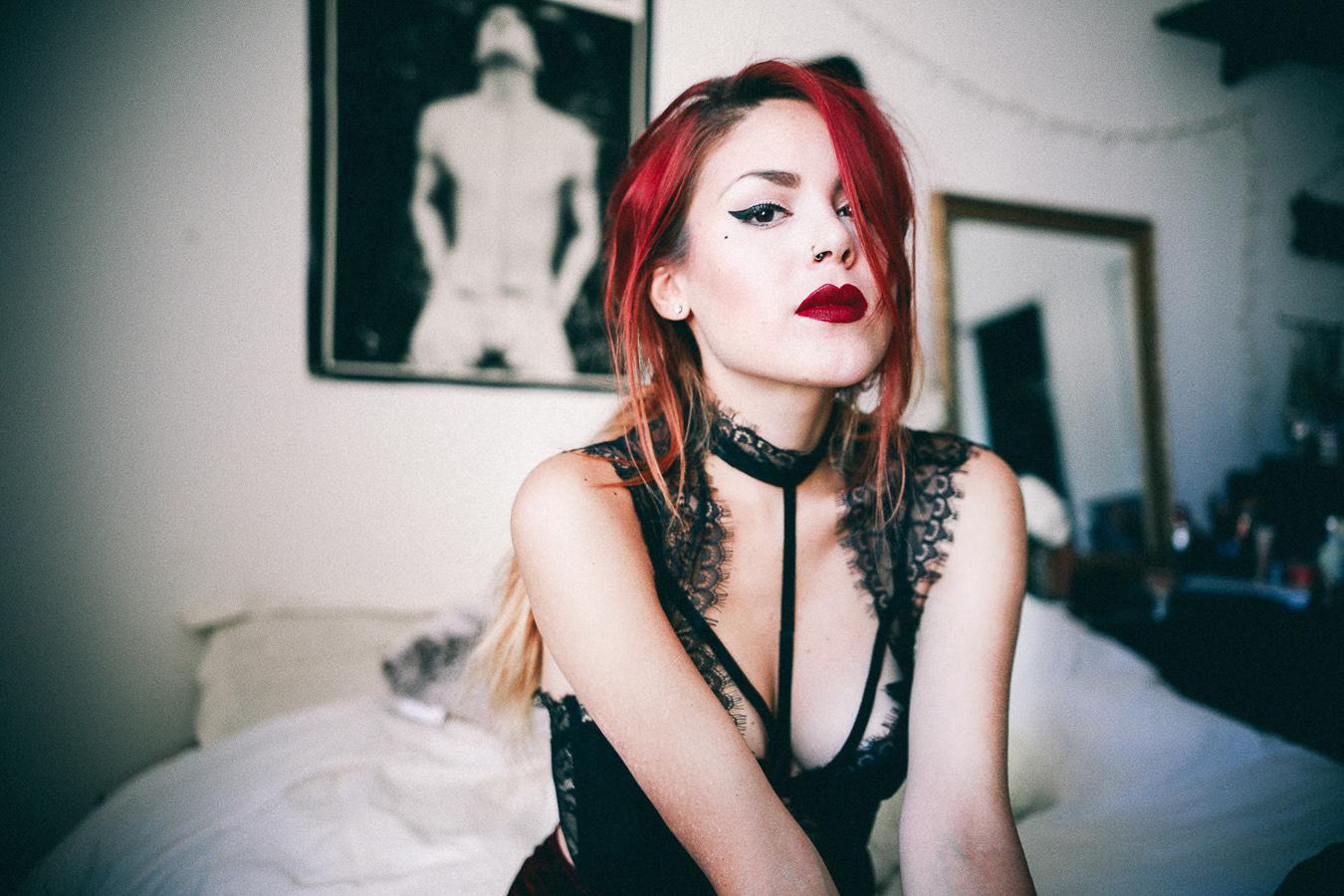 Le Happy wearing Nasty Gal lace choker corset
