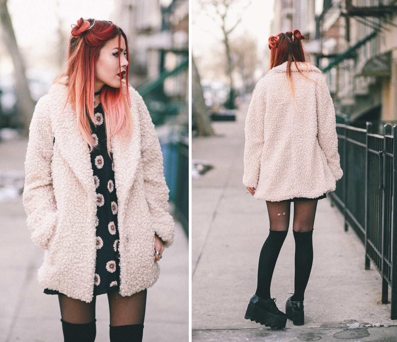Le Happy wearing Willow & Clay coat and daisy dress