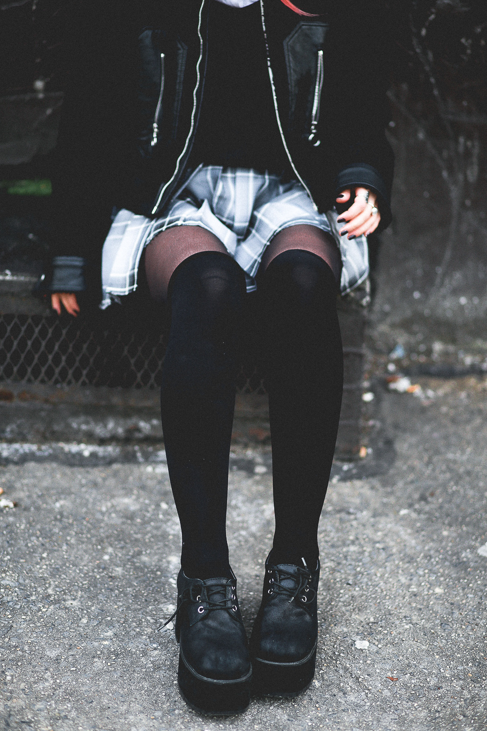Le Happy wearing thigh high socks and plaid skirt
