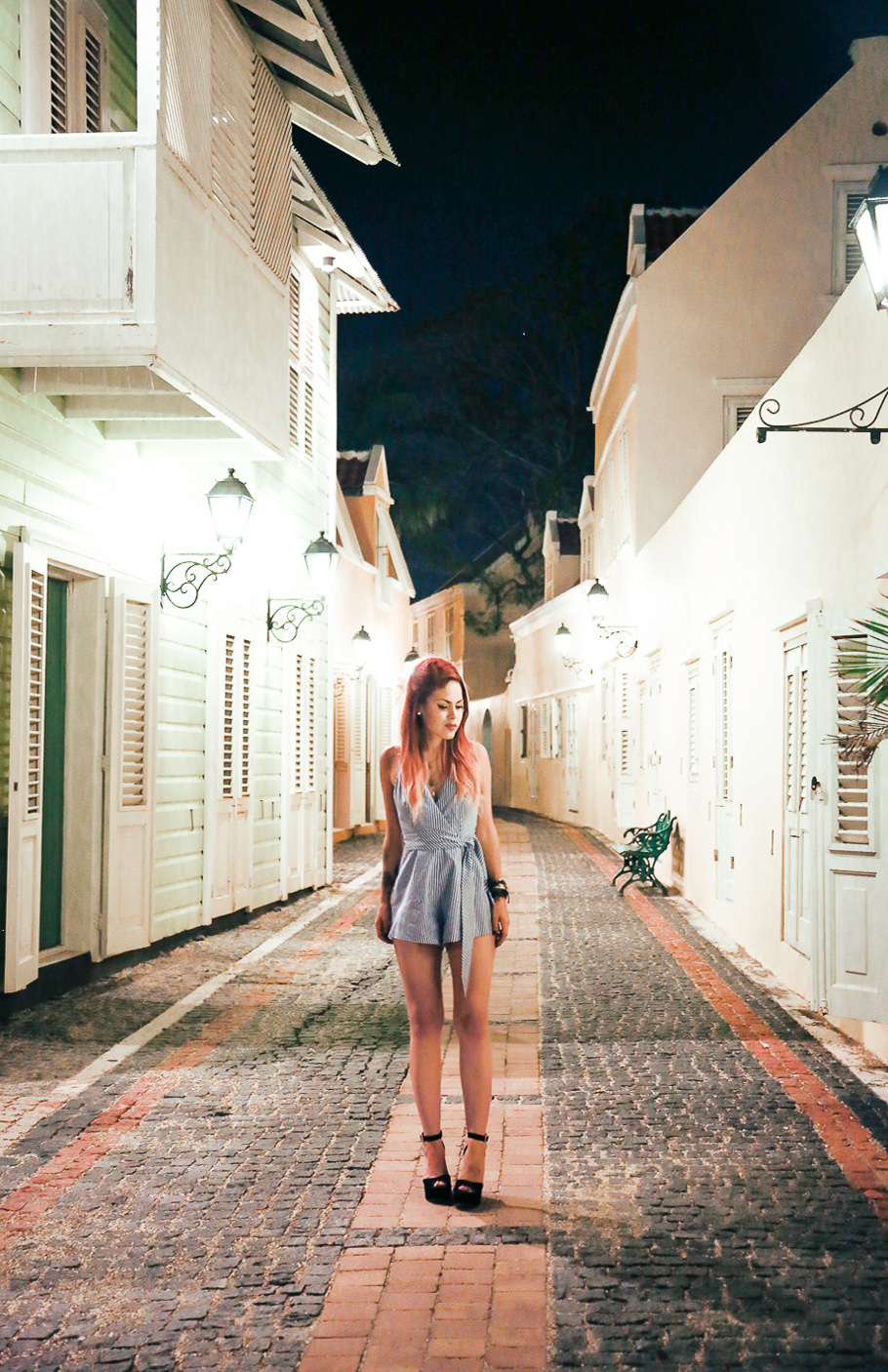 Le Happy wearing FSHNBNKR romper in Curacao