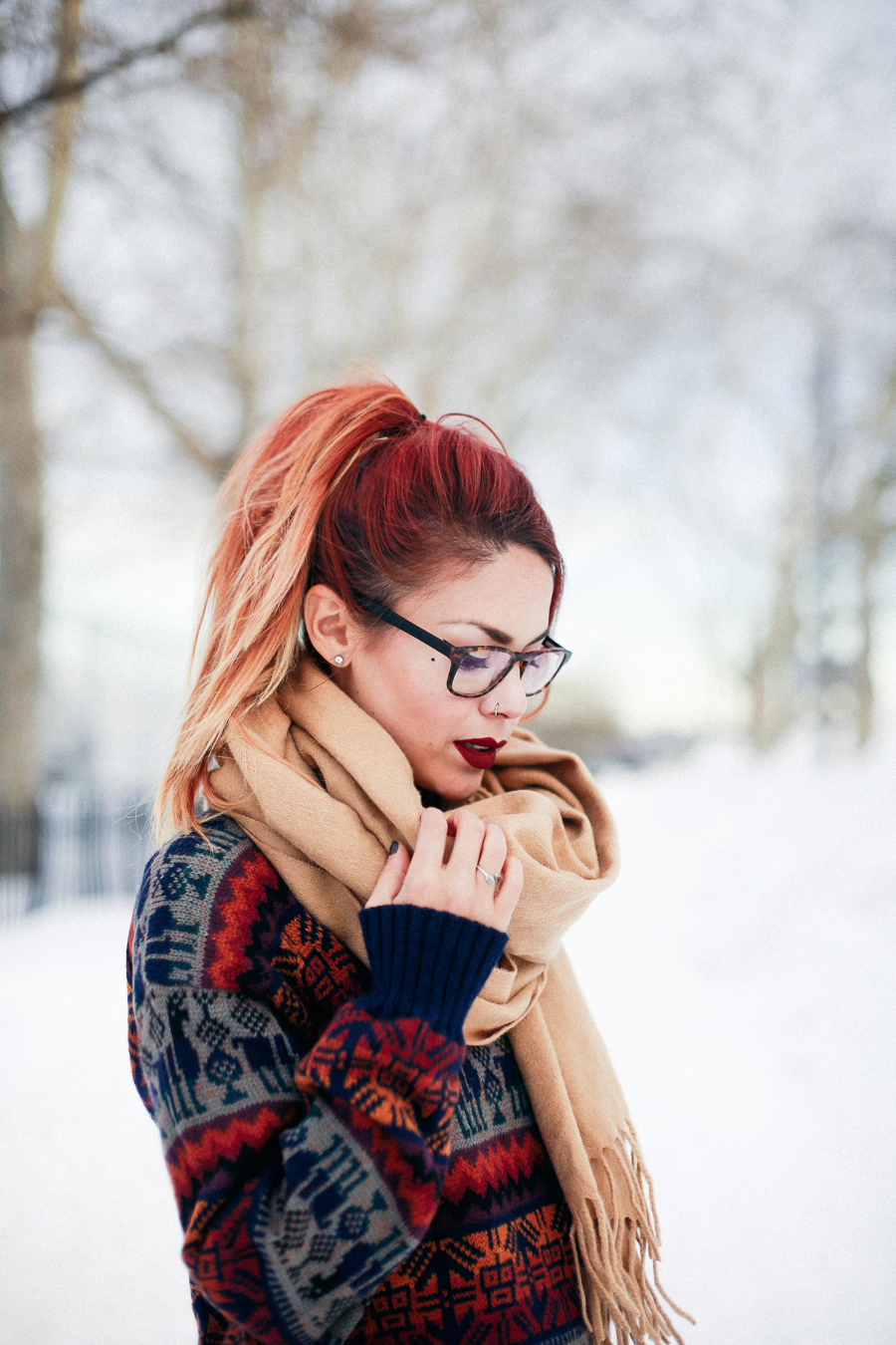 Le Happy wearing Few Moda scarf and eyeglasses