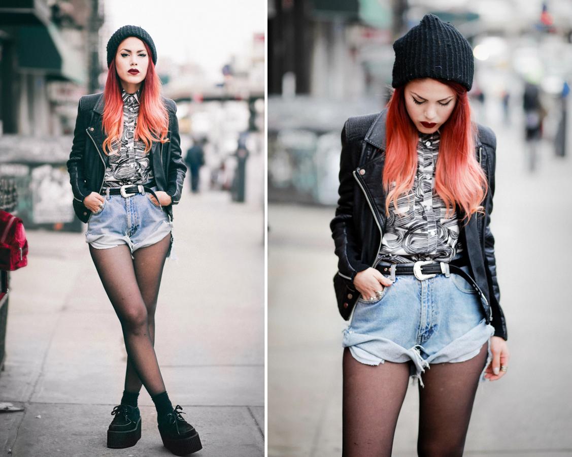 Le Happy wearing vintage denim shorts and biker jacket