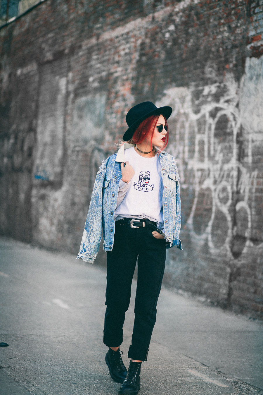 Le Happy wearing Vintage Twin denim vintage jacket and Dr Martens boots