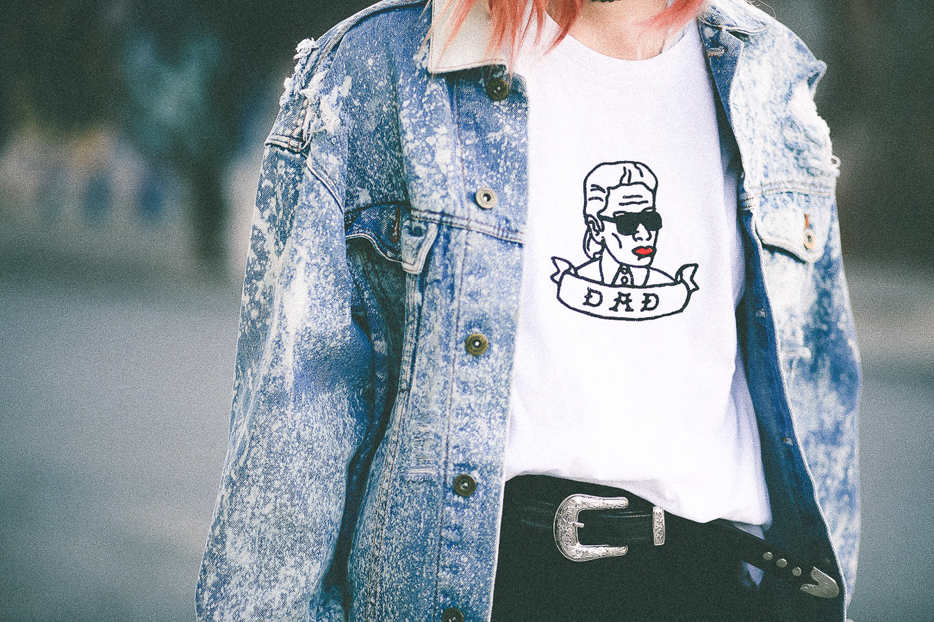 Le Happy wearing vintage denim jacket and white graphic tee