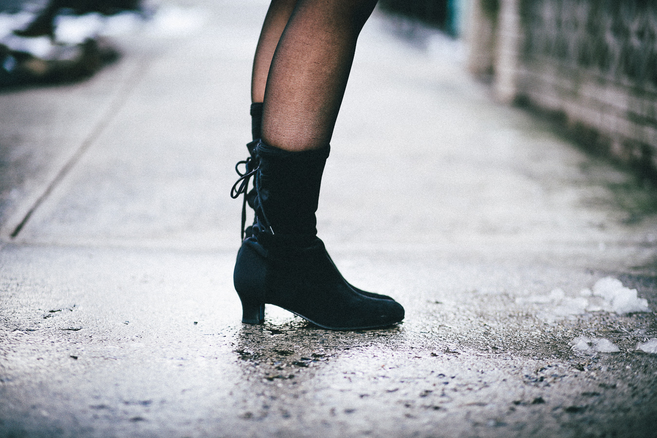 Le Happy wearing suede booties from Thierry Rabotin
