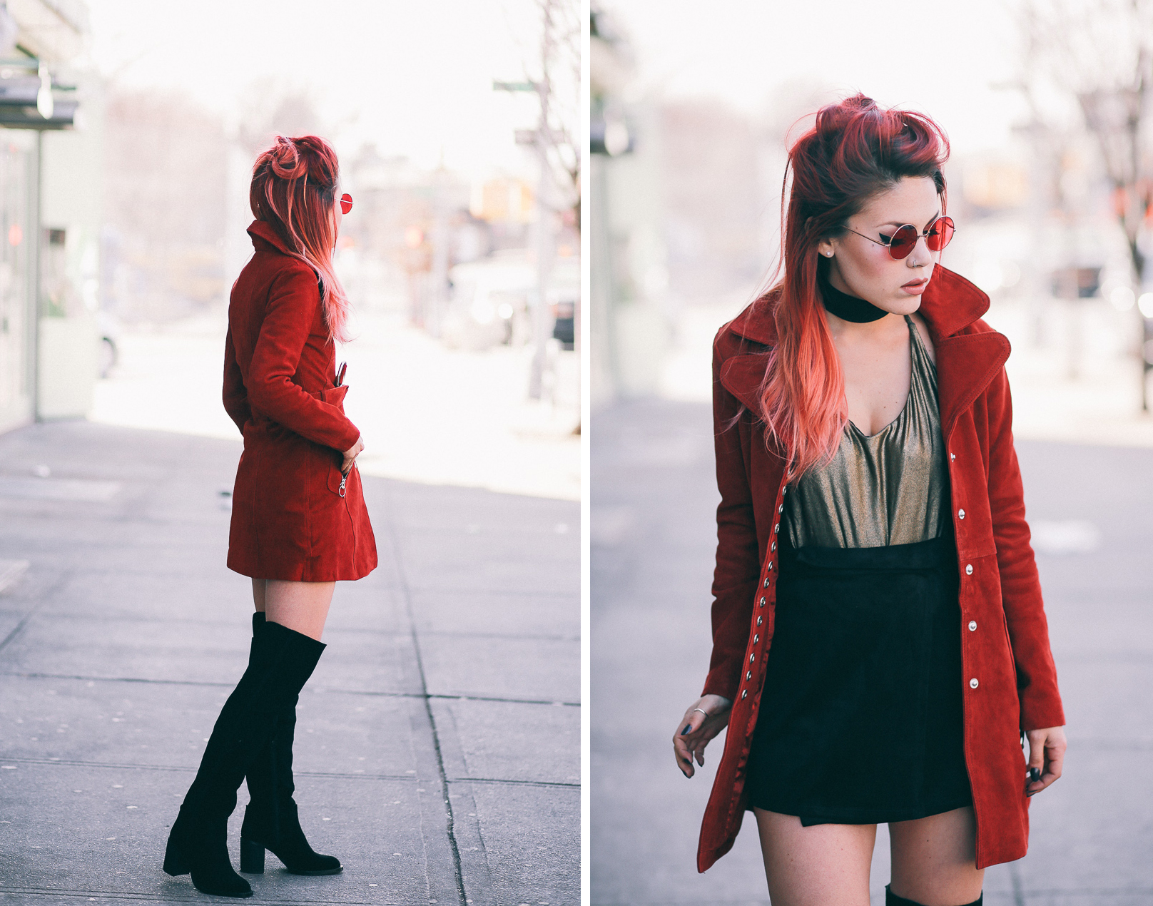 Le Happy wearing Nasty Gal retro suede coat and metallic bodysuit