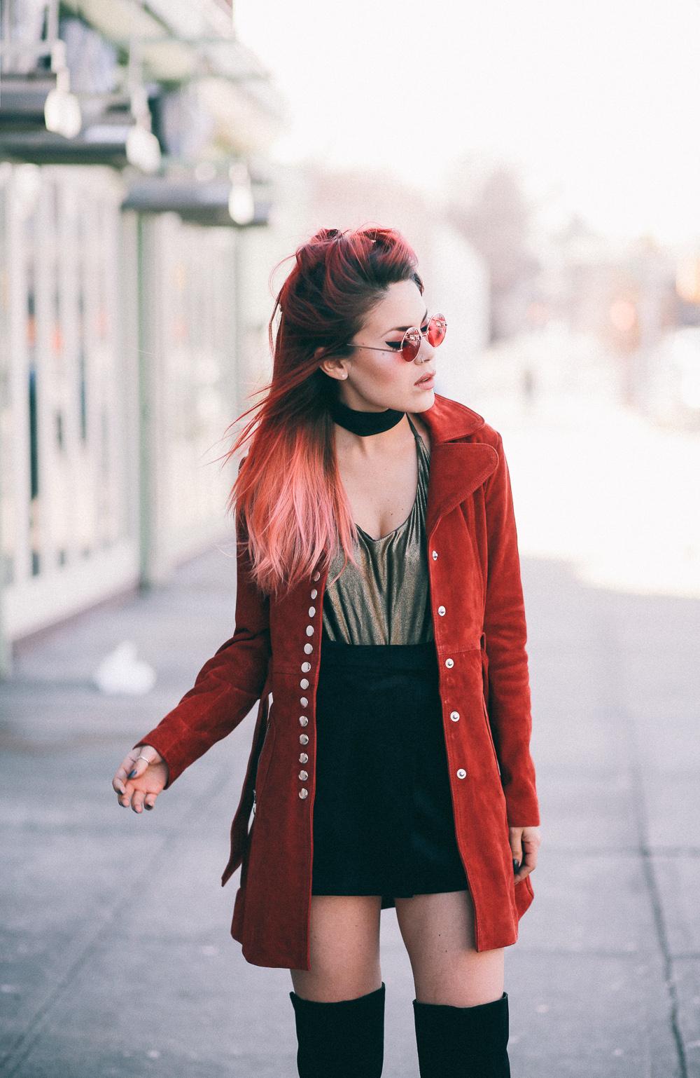 Le Happy wearing Nasty Gal retro suede coat and metallic bodysuit