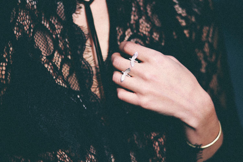 Le Happy wearing Vera Meat bird ring