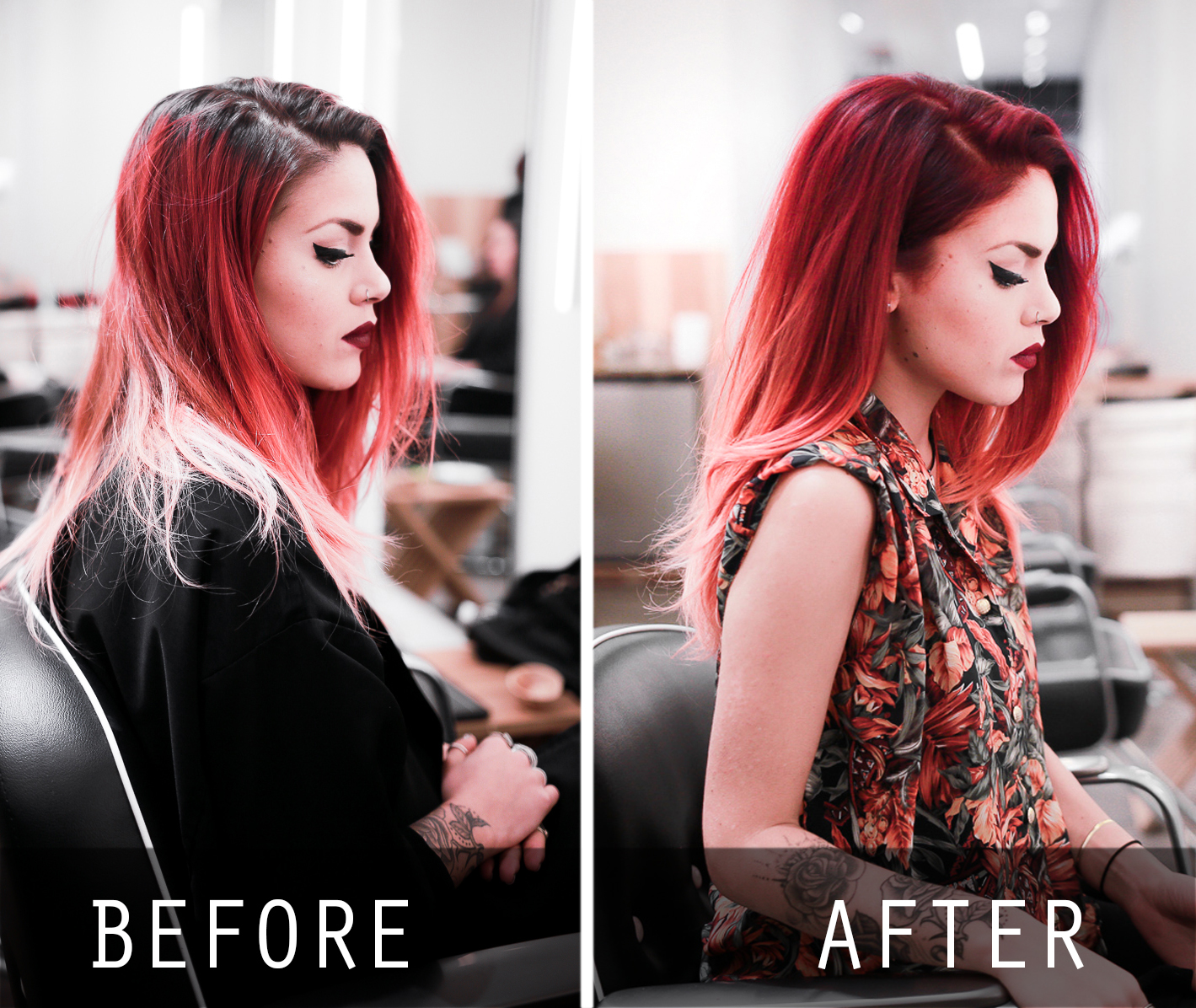 Le Happy hair color change with Aveda