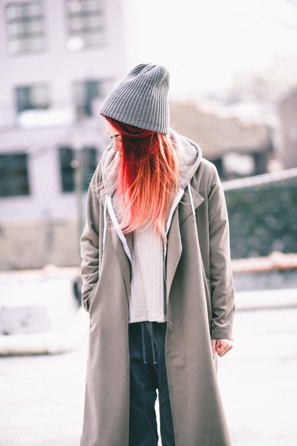 Le Happy wearing American Apparel trench and grey beanie