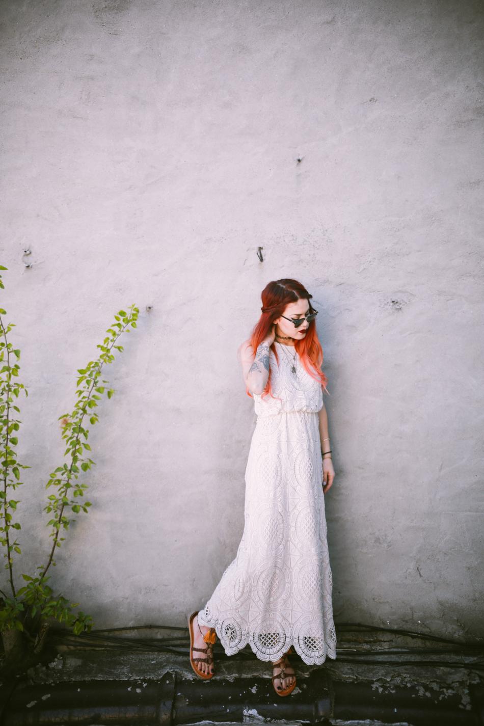 Le Happy wearing white crochet maxi dress from Eliza J