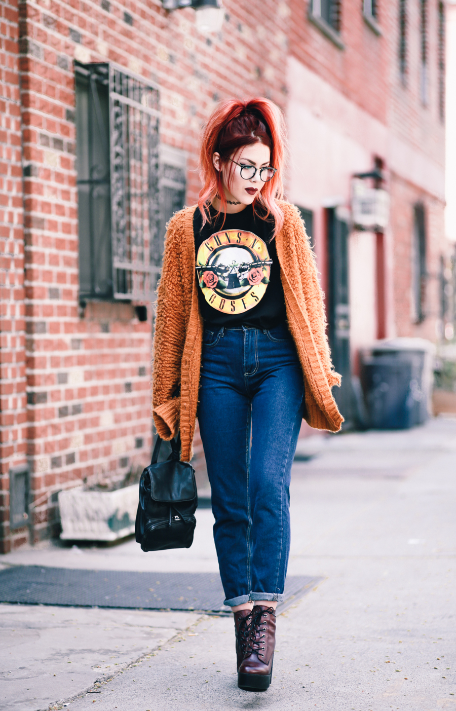 Le Happy wearing Guns n Roses tee and Steve Madden Booties