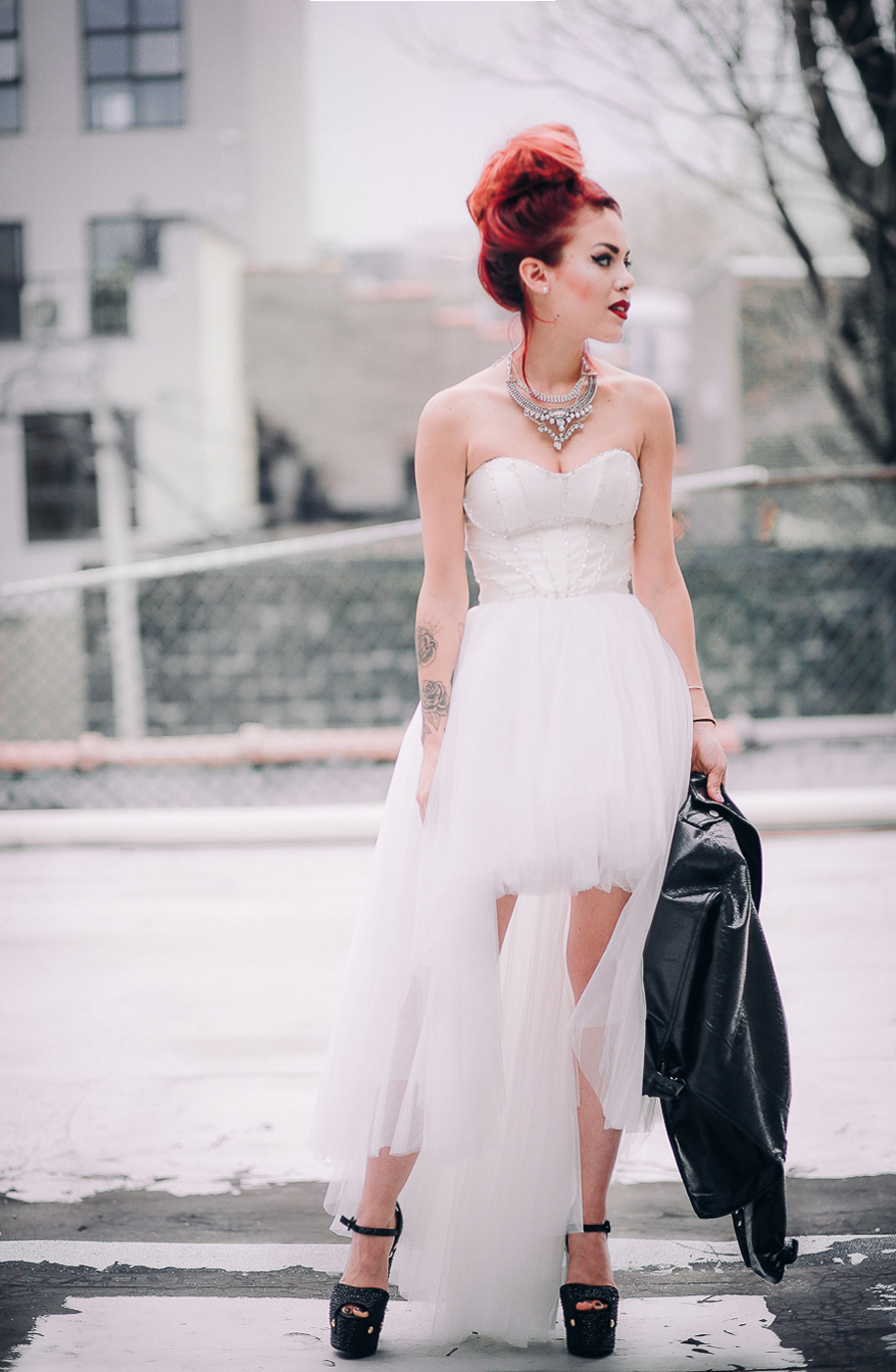 Le Happy wearing Nasty Gal Prom tulle dress and Giuseppe Zanotti pumps