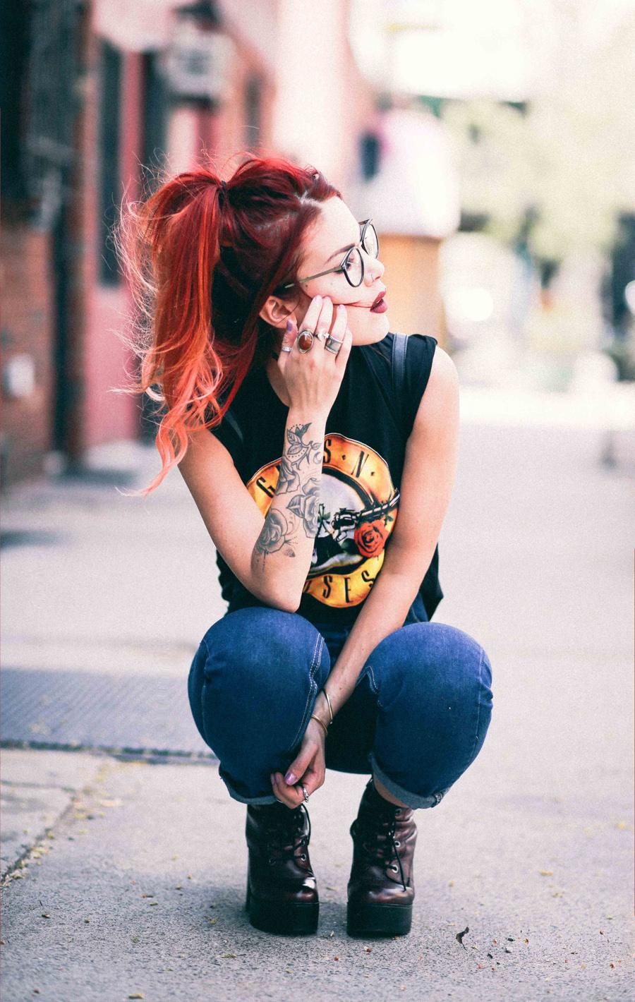 Le Happy wearing Guns n Roses tee