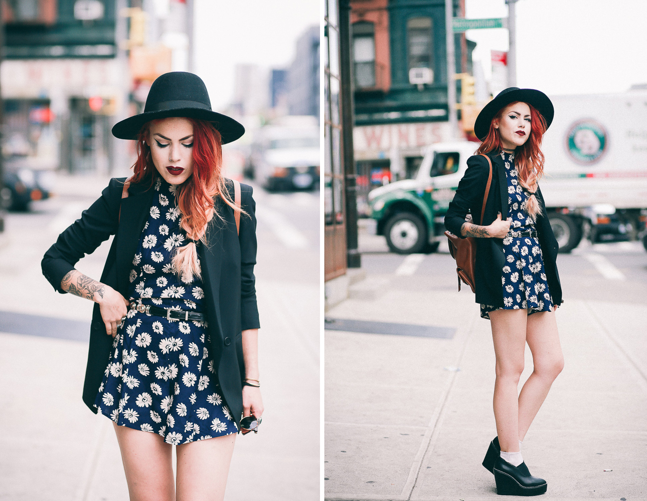 Le Happy wearing ASOS floral romper and Theory blazer