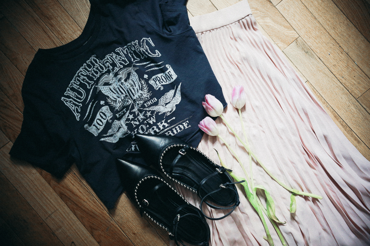 McQ studded flats and Ramy pleated skirt