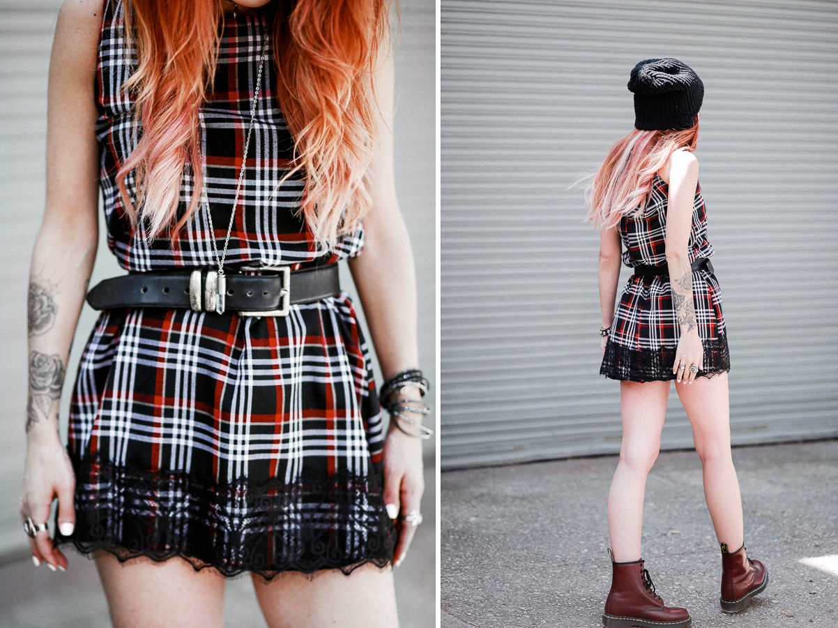 Le Happy wearing Aeneas Erlking plaid dress and red docs