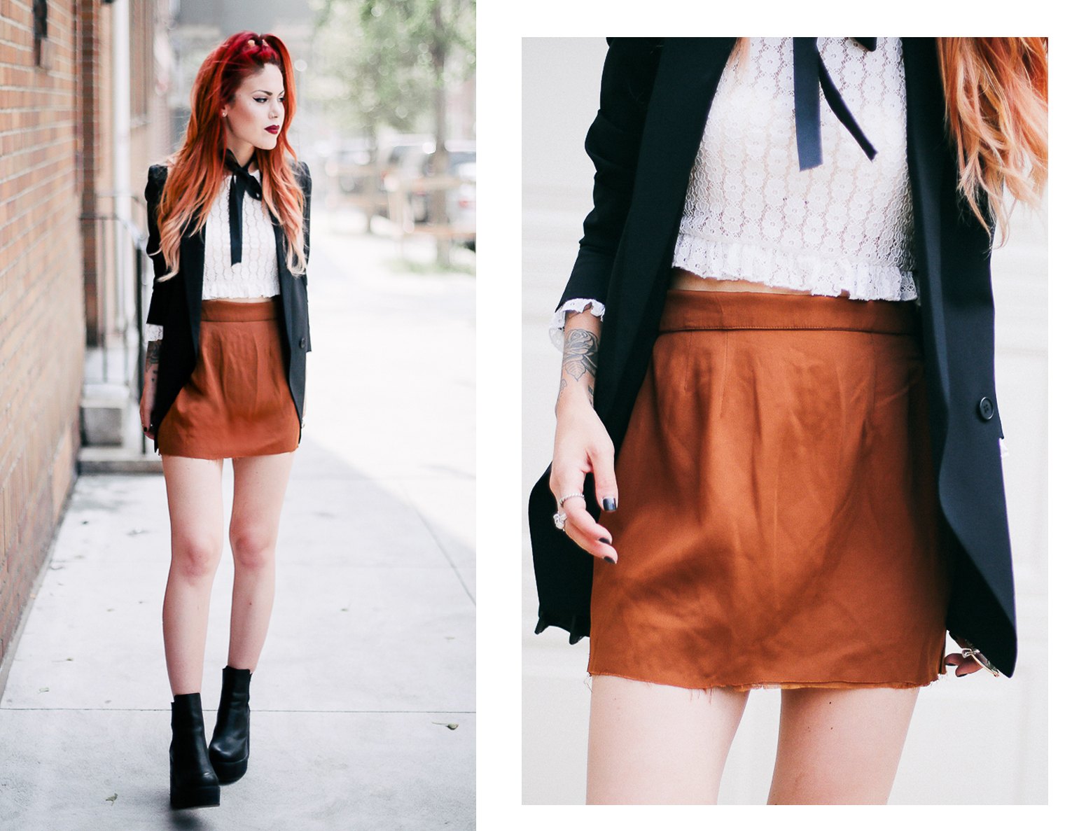 Le Happy wearing Motel Rocks crochet crop top and Theory blazer