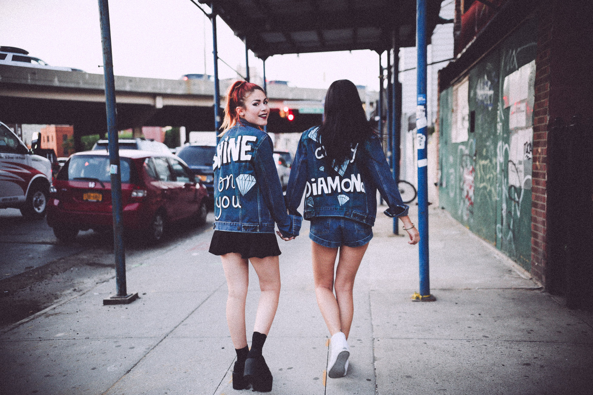 Friends wearing Shop JayDee denim jacket Pink Floyd inspired