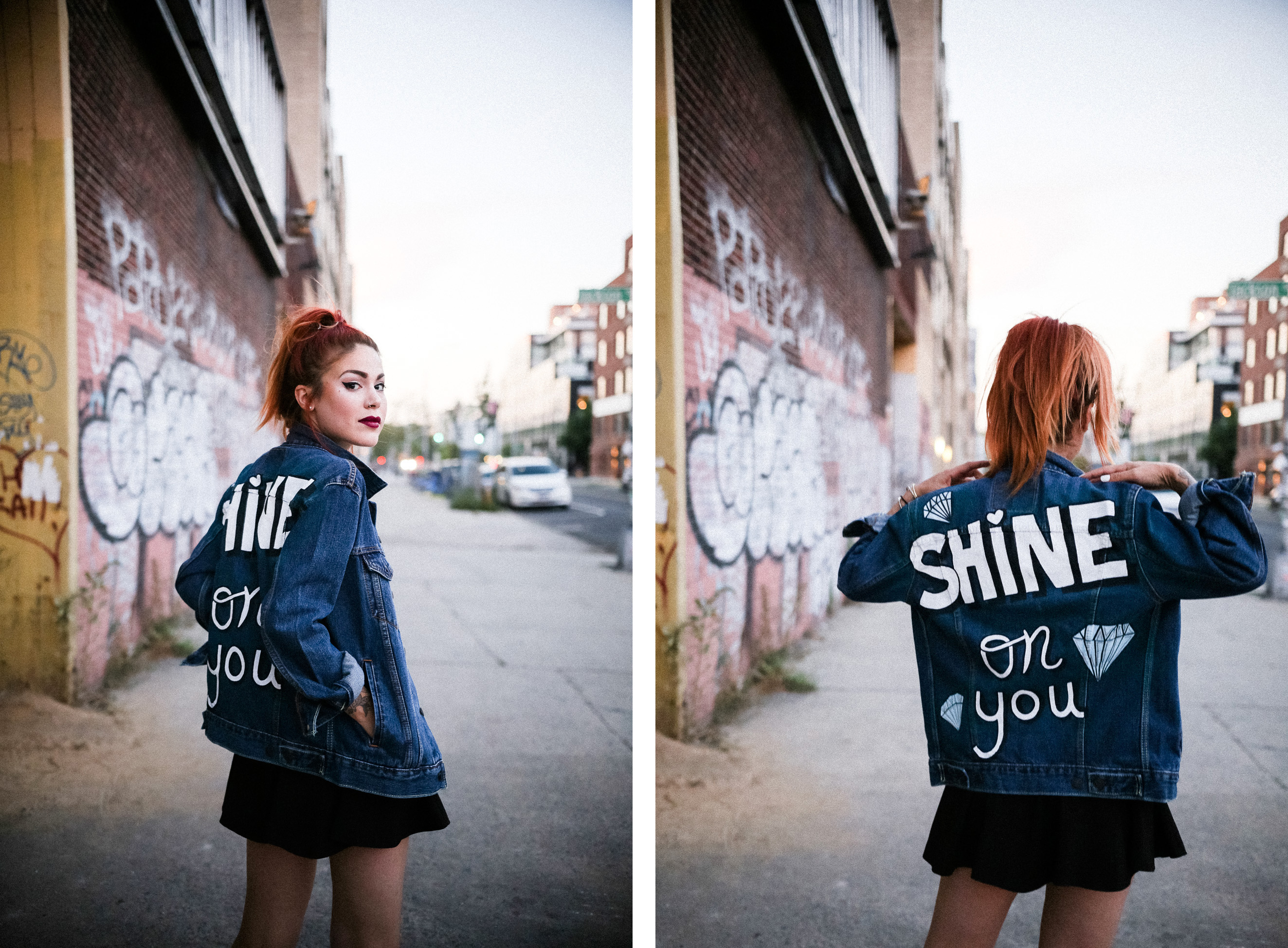 Friends wearing Shop JayDee customized denim jacket with painted text