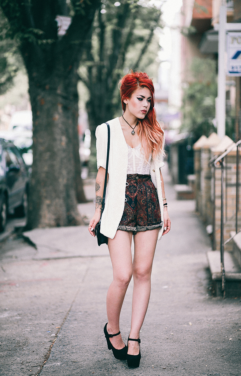 Le Happy wearing vintage lace bustier and shorts for a romantic dinner look
