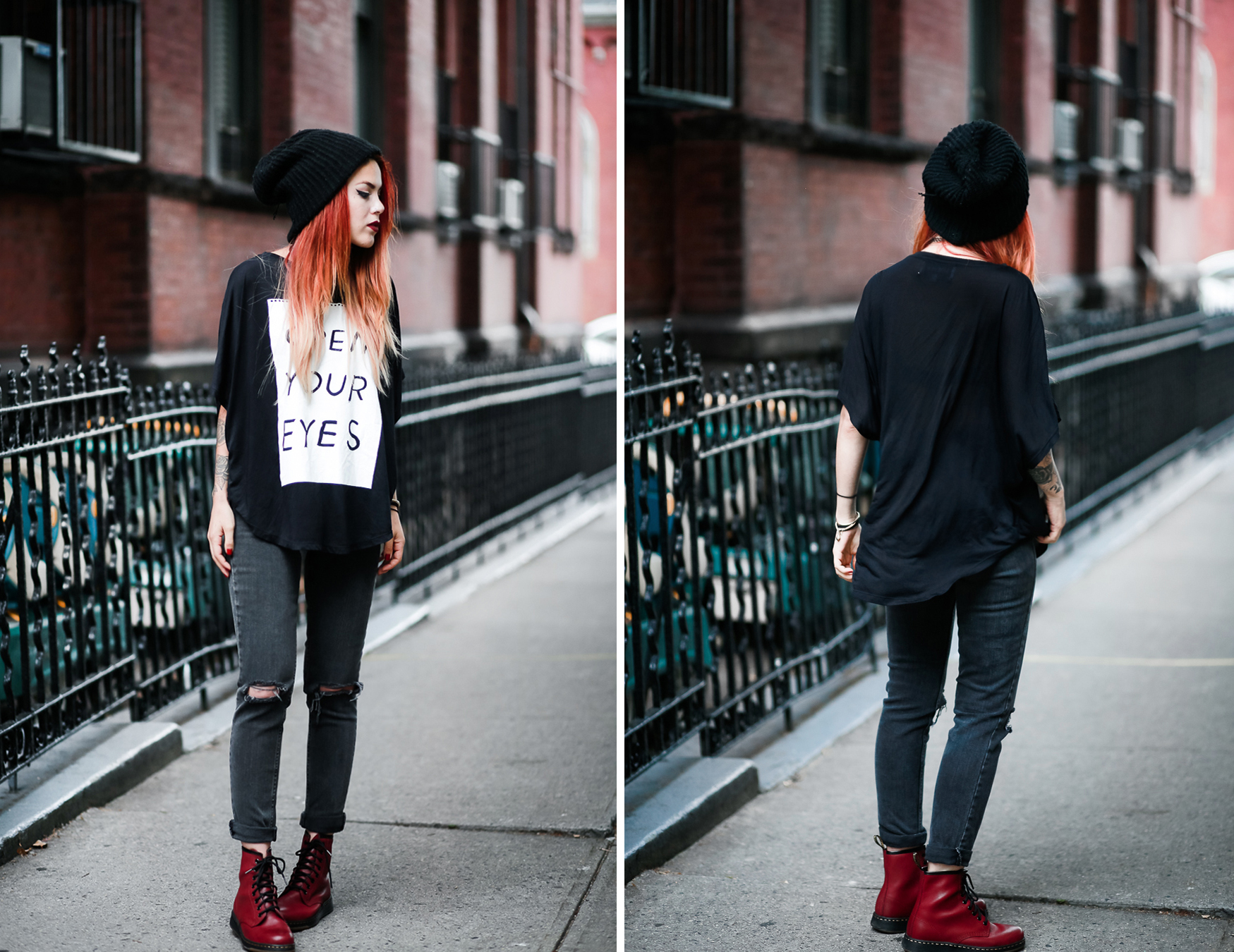 Le Happy wearing 5PREVIEW t-shirt with Dr Martens Lite