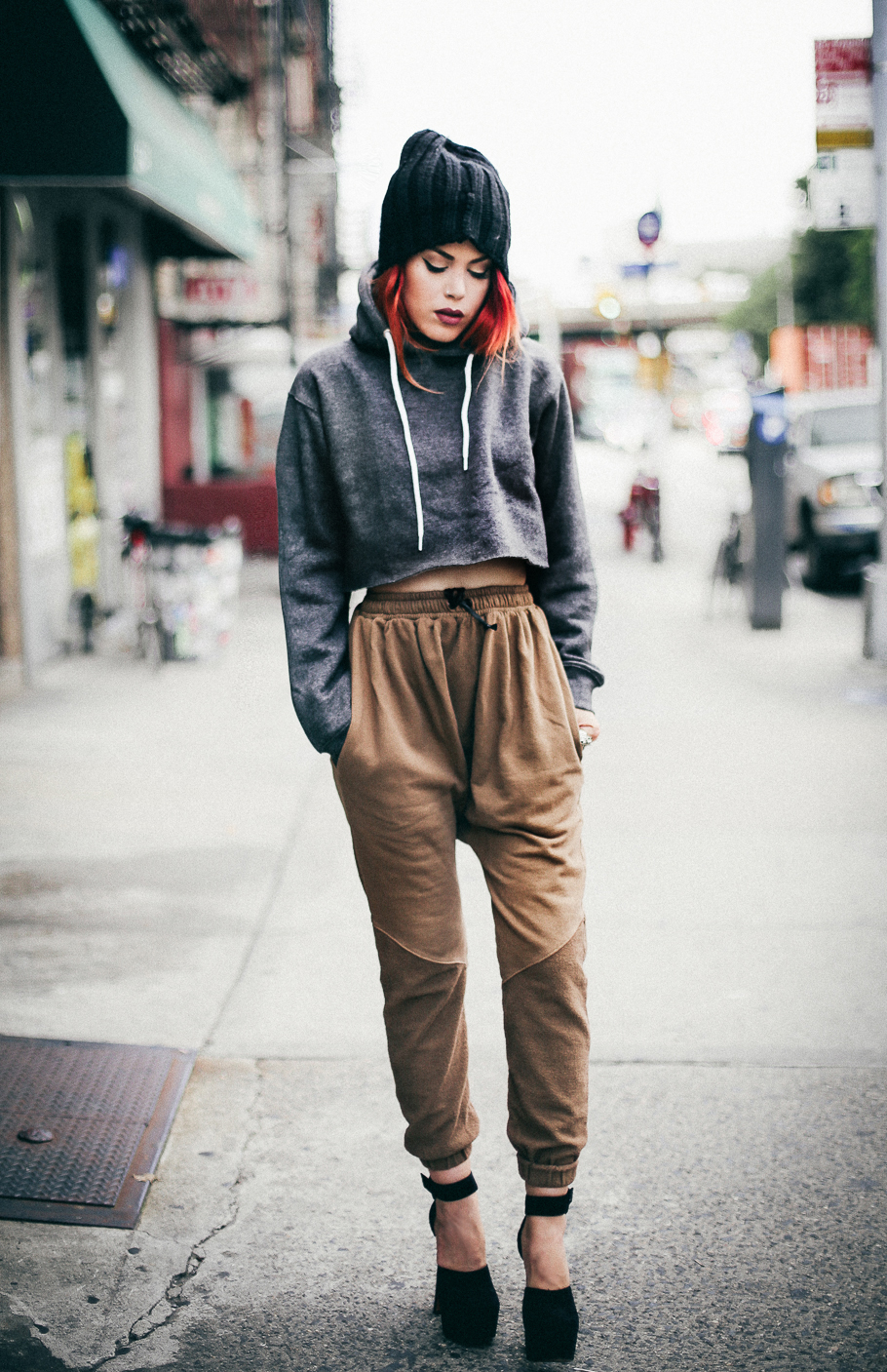 Le Happy wearing Daniel Patrick joggers and cropped hoodie