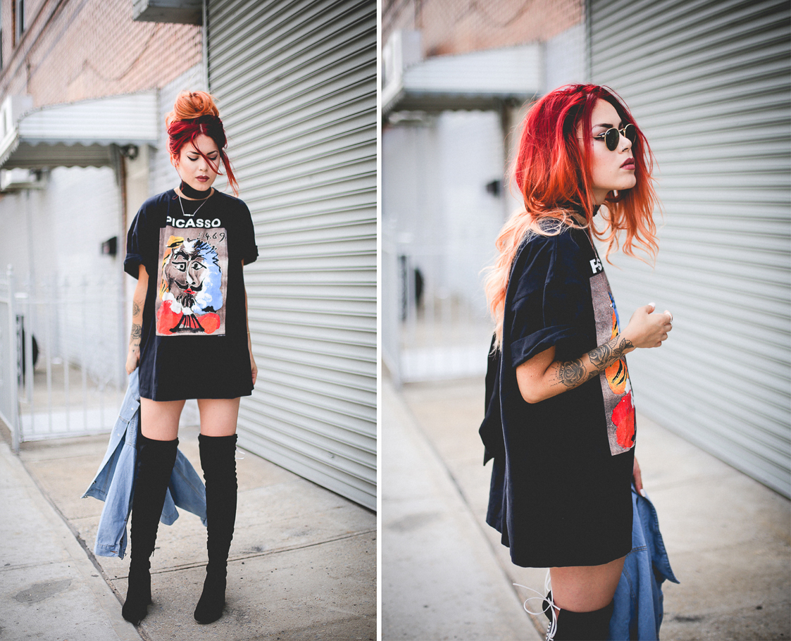 Le Happy wearing McQ thigh high boots and Picasso vintage t-shirt