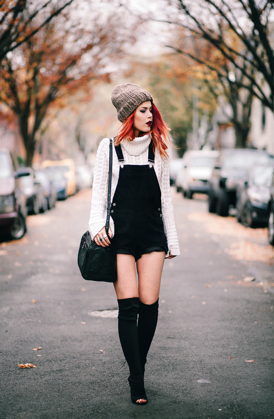 Lua of Le Happy wearing Ramy Brook sweater and ASOS overalls