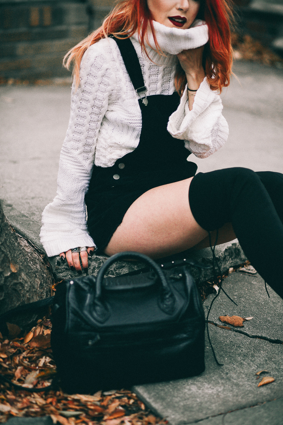 Lua of Le Happy wearing Ramy Brook sweater and Public Desire boots