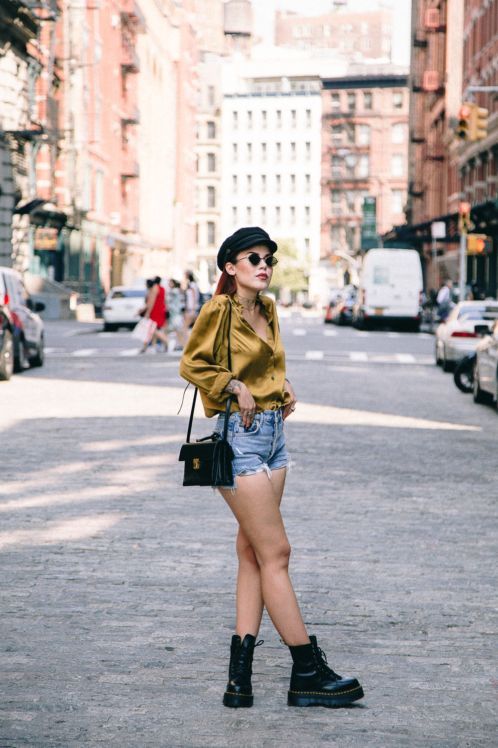 Lua wearing Public School mustard blouse and Jadon Dr Martens